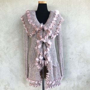 [Lapis]Ribbed knit, open front tassel sweater